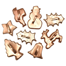 Set of 8 Copper Clad Christmas Holiday Cookie Cutters ~ Christmas tree , Snowman, Santa Claus, Reindeer, Holly Leaves, Bell, Star