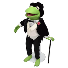 Brass Key 25th Year Anniversary Porcelain Kermit The Frog in Tuxedo w/ Boutonniere, Hat & Cane