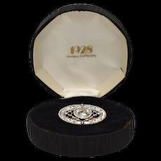 1928 Jewelry Co. Clear Rhinestone Small Oval Silver-tone Filigree Pin/Brooch