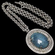 c1970s Whiting & Davis Huge Faux Blue Turquoise Glass Pendant Medallion Silver-tone Necklace