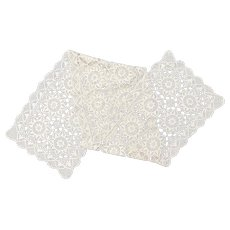 "Handcrafted Cream White Crochet Lace Floral Star Pattern 63"" Table Runner"