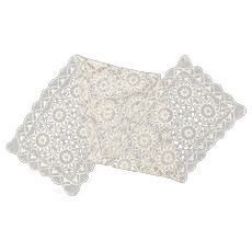 """Handcrafted Cream White Crochet Lace Floral Star Pattern 63"""" Table Runner"""