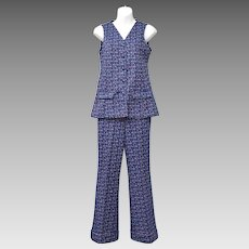 Blue Multicolor Pant Set w/ Button-up Sleeveless Top & Wide Leg Trousers