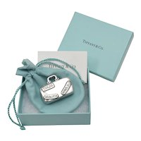 Tiffany & Co. Sterling Silver Travel Luggage Suitcase Pill or Trinket Box w/ Original Box, Protective Pouch & Care Card