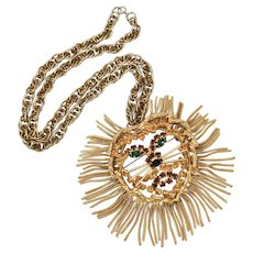 Dominique Book Piece Huge Rhinestone Lion Face Tassel Brooch Pin or Statement Pendant Chain Necklace