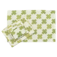 4-Pc Perma-Prest No Iron Spring Green & Floral Star Pattern Twin Sheet Set - Includes 2 Pillowcases