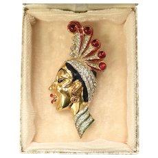 RARE Coro Craft Sterling Silver Josephine Baker Ruby Red Glass Cabochon & Rhinestone Art Deco Figural Brooch/Pin w/ Original Box