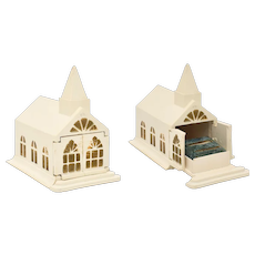 RARE Art Deco Melmar Signed White Church Wedding Chapel w/ Working Double Doors & Turquoise Velvet Interior Double Ring Celluloid Box