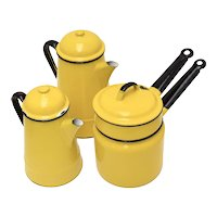 c1970s 7-Piece Huta Silesia Poland Yellow Enamel Coffee Pot, Tea Pot or Kettle & Double Boiler w/ Original Lids