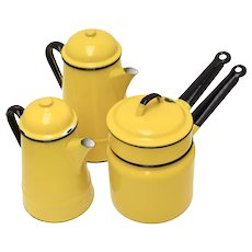 c1970s 7-Piece Huta Silesia Poland Yellow Enamel Coffee Pot, Tea Pot or Kettle & Double Boiler w/ Original Lids