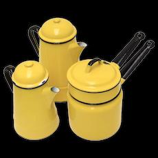 c1970s 7-Piece Huta Silesia Poland Yellow Enamel Coffee Pot, Tea Pot/Kettle & Double Boiler w/ Original Lids