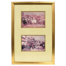 Set of 2 Maurice Utrillo Paris Scene Art Prints in Gold Painted Wood Frame