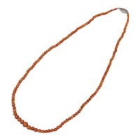 Victorian Era Natural Salmon Pink Coral Graduated Bead Necklace w/ Sterling Silver Clasp