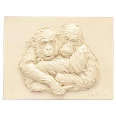 "c1971 Joseph Zutz ""I Need You"" Chimpanzee Monkey 3D Sculpture Wall Plaque"