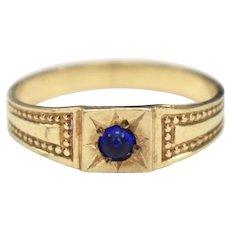 10k Gold Hallmarked Victorian Era Sapphire Blue Glass Child or Baby Beadwork Gypsy Ring