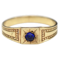 10k Gold Hallmarked Victorian Era Sapphire Blue Glass Child or Baby Beadwork Gypsy Ring