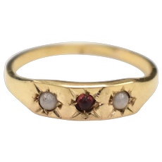 10K Gold Signed BDA Victorian Era Red Garnet & White Seed Pearl Gypsy Baby Ring