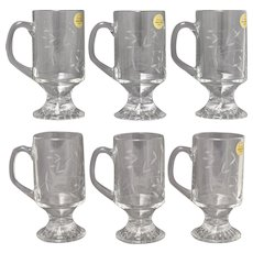 Set of 6 Princess House Heritage Etched Crystal Glass Irish Coffee Mugs