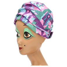 c1960s Christine Signed Colorful Pink, Purple, Green Pucci Style Women's Turban Hat