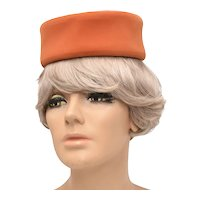 c1950s Salmon Pink Velvet Jackie Kennedy Style Pillbox Hat