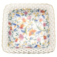 Germany Pierced Lace Hand Painted Flower White Porcelain Trinket Dish