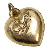 Victorian Era HG Signed Gold-filled Puffy Etched Heart Charm or Small Pendant