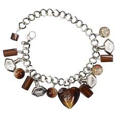 Balenciaga Cialenga Parfume Bottle Topaz Glass Heart Charm Bracelet