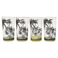 Set of 4 Mid-Century Modern MCM Palm Tree Tiki Green Yellow Ombre Juice or Cocktail Glasses