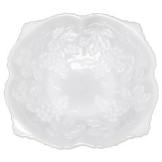 Anchor Hocking White Milk Glass Grape Harvest Low Fruit Bowl Compote