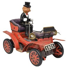 c1950s Cragston 'Shaking Car' Tin Litho 1901 Car Collectible Toy - Works!