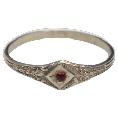 Victorian Era 10k White Gold Red Ruby Infant Baby Gypsy Ring