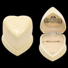 Warner Signed Art Deco Cream White Basketweave Celluloid Heart Ring Box