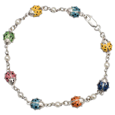 Italy Made Sterling Silver Colorful Enamel Ladybug & White Pearl Bracelet