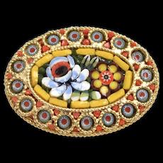 Italian Micro Mosaic Colorful Orange, Yellow, Blue Flower Oval Brooch/Pin