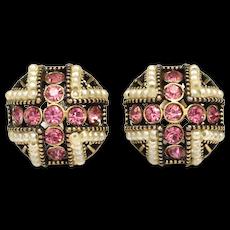 c1954 Hollycraft Pink Glass Rhinestone & White Faux Pearl Screwback Earrings