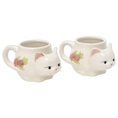 Set of 2 Hand Painted Figural Kitty Cat White Ceramic Mugs or Cups w/ Tea Bag Holder