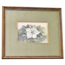 Hand Signed Mary Bertrand White Plumeria Flower Limited Edition Art Print w/ Sage Green Silk Mat & Original Frame