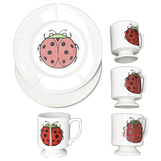 c1960s 8-Pc Charley Harper Style Red Ladybug Sandwich / Dessert / Small Plate & Matching Cup Set