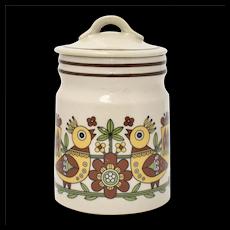 c1970s Pennsylvania Dutch Style Mod Bird Stoneware Crock Jar w/ Lid