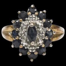 Sterling Silver Vermeil Dark Blue Sapphire & Diamond Chip Cocktail Ring ~ Size 8