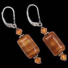 Sterling Silver Caramel Bonbon Glass Bead Dangle Earrings