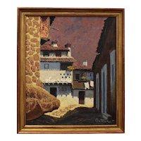 Ortega Signed Earthy Architectural Pueblo Village Impasto Oil on Board Painting in Original Wood Frame
