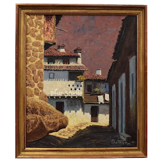 Ortega Signed Earthy Architectural Pueblo Village Impasto Oil on Board Painting in Original Wood Frame