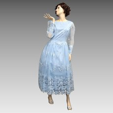 c1970s Sky Blue Taffeta, Chiffon & Fabric Lace Bishop Sleeve Maxi Dress / Semi-Formal Gown