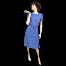c1960s Royal Blue & White Polka Dot Fabric w/ Lucite Belt Short Sleeve Secretary or Day Dress - Size 9/10