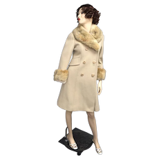 c1960s Sycamore Designer ILGWU Beige Tan Wool Fabric & Faux Fur Chunky Button Maxi Coat