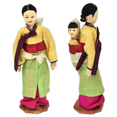 Pre-1950 Korean Mother Doll w/ Baby Traditional Silk Fabric Dress Souvenir Doll on Stand