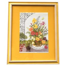 "c1976 Gloria Eriksen ""Floral & Trellis"" Colorful Flowers in Original Yellow Wood Frame"