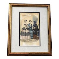 c1860s Musee de Familles Modes Vraies Women's Victorian Fashion Original Hand Colored Art Print in Wood Frame