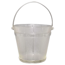 Anchor Hocking Crystal Glass Buckle & Wood Embossed Pail w/ Hammered Metal Handle Ice Bucket